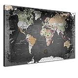 """LANA KK - Weltkarte Leinwandbild mit Korkrückwand zum pinnen der Reiseziele – """"Weltkarte Graphit"""" - deutsch - Kunstdruck-Pinnwand Globus in schwarz, einteilig & fertig gerahmt in 100x70cm"""