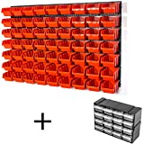 Lager Wandregal Lagerregal, 63 Stapelboxen Orange Gr. 3 POP Serie, 8 Wandplatten + Haken