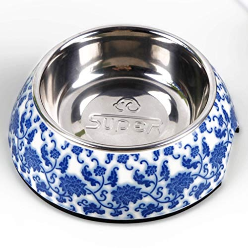 CKH Blau und Weiß Porzellan Rutschfeste Edelstahl Dog Pot Welpen Schüssel Teddy Schüssel Teddy Supplies Teddy Food Dish Hundeschüssel - Weiß Bowling-schuhe