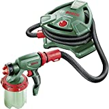 Bosch Farbsprühsystem PFS 5000 E (2x Farbbehälter 1000 ml, Düse für Wandfarbe (weiß)/ Lasuren (grau)/ Lacke (schwarz), Farbfilter, Reinigungsbürste, Karton, 1.200 Watt)