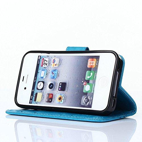 iPhone 4/4G/4S Premium PU Portefeuille en cuir Housse, newstars Folio Étui à rabat pour Téléphone portable Motif Lovers mobile pour protéger la peau étui en cuir pour iPhone 4/4G/4S Téléphone suppor Embossing Blue