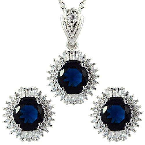Rizilia 18K oro blanco plateado redonda de corte de zirconia azul zafiro pendientes collar joyería conjunto