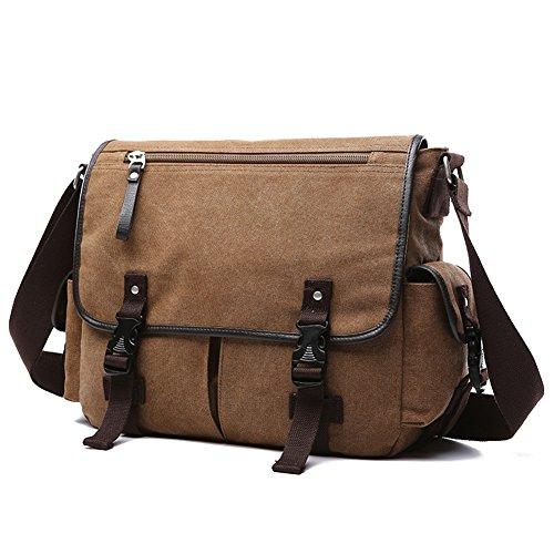BAOSHA MS-06 Unisex Vintage Canvas Umhängetasche Schultertasche Messenger Bag für Arbeit Uni Reise Sport (Kaffee 13 ~ 13.3 Zoll) (Messenger Eco-friendly)