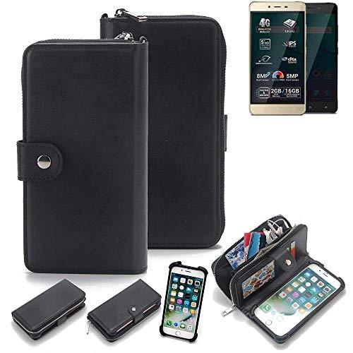 K-S-Trade 2in1 Handyhülle für Allview P7 Pro Schutzhülle & Portemonnee Schutzhülle Tasche Handytasche Case Etui Geldbörse Wallet Bookstyle Hülle schwarz (1x)