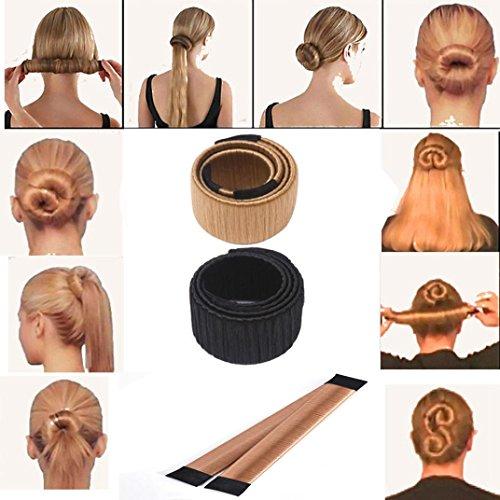 Rosennie Damen Fashion Hair Styling Donut Hair Bun Maker Perfekt fur lange und dicke Haare Neue Mädchen Haar DIY Styling Donut Ehemaligen Schaum Französisch Twist Magic Tools Brötchen-hersteller Werkzeug Brautfrisur (Schwarz)