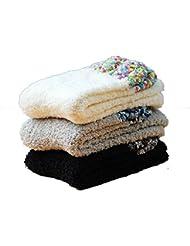 Socks ZY Tres pares de caja de regalo. Calcetines del piso calcetines para dormir coral cachemira calcetines calcetines de la toalla de invierno adultos femeninos calcetines calientes mes de calcetines , f , 1#