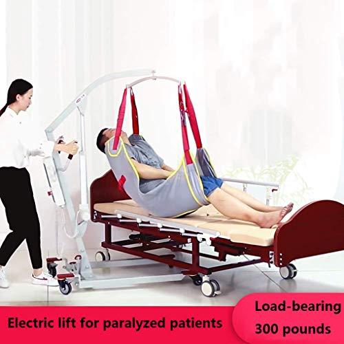 51zGN0i4EVL - YXP Grúa Eléctrica para Pacientes para Uso doméstico Ligeros Plegables con eslingas Medianas de Malla Completa, con Base Baja, Capacidad de Peso de 450 LB