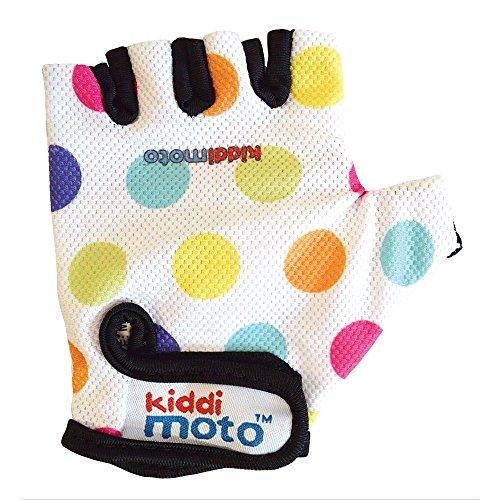 Kiddimoto GLV011M - Handschuhe mit bunten Punkten, Größe M, weiß
