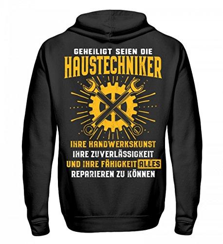 Shirtee Hochwertiger Unisex Kapuzenpullover Hoodie - Geheiligt seien die Haustechniker - Geschenk - Haustechnik - Haustechnikerin