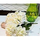 Rethinkso artificial hortensia flor 5 ramo de las flores flores de las plantas grandes de simulación Mayores 7 Colores (white)