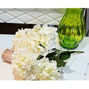 Caomoa Flor artificial hortensia ramo 5 grandes cabezas 7 colores disponibles flor de simulación de alto nivel (white)