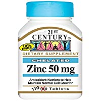 21st Century Chelated Zinc 50 mg, 110 Tablets