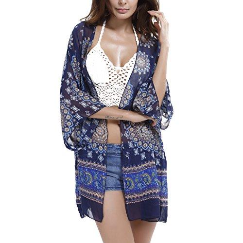 Summer Mae Femme Robe de Plage Imprimée Cache-maillot Tunique en Chiffon Bleu