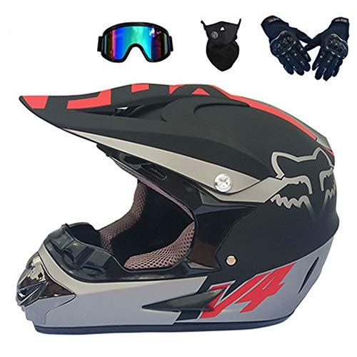 AELN Motocross Helm - Fahrradhelm Offroad-Helm Vollhelm DOTECE-Zertifiziert - Motorradhelm mit Sonnenschutz für Männer und Frauen - M/L/XL-25