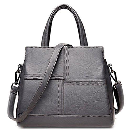 Leder Frauen Taschen Handtaschen Frauen berühmter Marken Designer Plaid Schulter Tasche Damen Casual Tote Sac A Main grau 29 x 16 x 23 cm