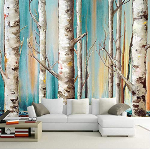 Benutzerdefinierte 3D Wandbild Tapete Moderne Weiße Birke Bäume Ölgemälde TV Sofa Hintergrund Tapete Wohnzimmer Schlafzimmer Wandverkleidung, 250 * 175 cm - Birke Wohnzimmer Sofa