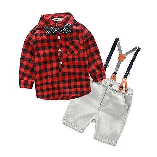 [Babyanzug für Jungen]Gentleman Bekleidungsset Baumwolle Sommeranzug festlich kariertes Kleidung Hemd +jeans Latzhose für Baby Junge-Rot-100