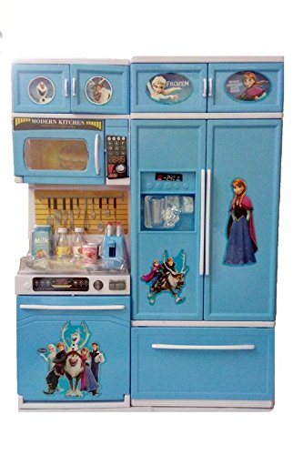 VSHINE Frozen Kitchen Play Set Two Compartments, Refrigerator, Cooktop Accessories with Cool Light and sound