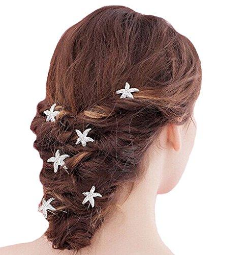 KEEKA 7 Stk.Wunderschöne Seestern Strass Haarclip Hochzeit Brautschmuck Haarschmuck Strass Haarnadel Haar-Accessoires