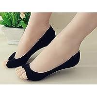 G1 Consoladores Mujer Niña Corte bajo Invisible Abierto Peep Corto Barco Calcetines Antideslizantes, Color Negro