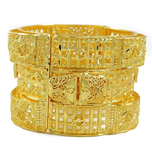 IBA Indianbeautifulart Gold 18K überzog indischen Kangan Designer Hochzeit Armreif 2 * 6-Geschenk für sie