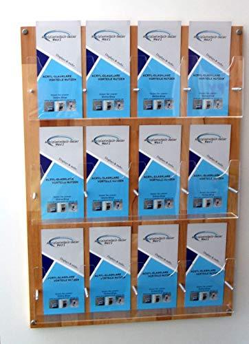 12- Fach Prospektwandhalter Buche DIN LANG,DIN A6 und 1/3A4,Prospekthalter