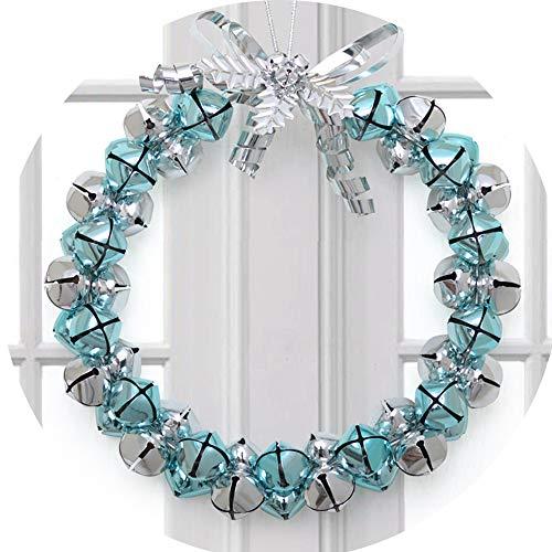 MMLsure® Weihnachtskranz mit Helle Bell Glocke Weihnachtskugel, Weihnachtsdeko für drinnen und draußen - zum Aufhängen an Türen, Wänden & Treppen Hochzeitsdekoration (A)
