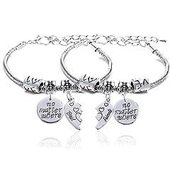 """Idea Regalo - Set di 2 braccialetti per migliori amici, ciascuno con 1 ciondolo con scritta in lingua inglese: """"No Matter Where"""", regalo per un'amicizia speciale."""