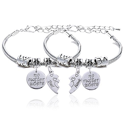 2pcs BBF Best Friends No Matter Where Compass Split Broken Heart Double Bracelets Set Friendship Gift