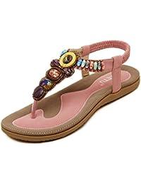 DQQ Damen Bohemian Perlen T Strap String Sandale, Blau - 3 - Größe: 38
