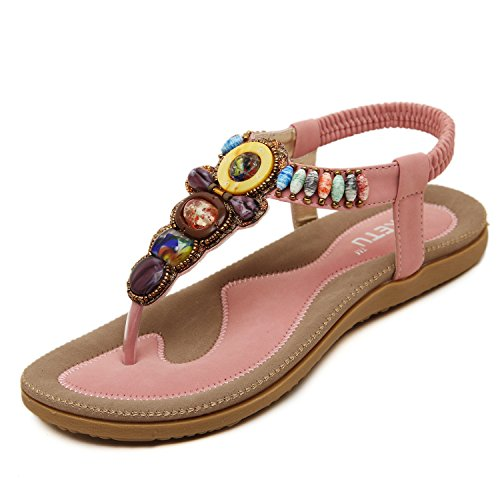dqq femmes de Bohème perles T Sangle String Sandal Rose