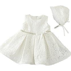 1509 Vestido para bebé, 2colores, lentejuelas, cinturón, encaje, satén, niña 1º cumpleaños, vestido con capota marfil Talla:6-12 meses