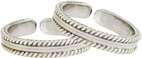 Frabjous Pretty Silver Adjustable German Silver Toe Ring for Women
