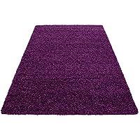 Hochflor Shaggy Teppich Wohnzimmer 3 Cm Florhöhe Einfarbig Teppiche Mit  OKOTEX, Maße:60x110 Cm