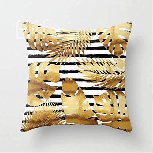 SKJSB Kissen Polyester Gold Geometrische Kissenbezug Werfen Marmor Ananas Kissenbezug Sofa Auto Dekoration 45 * 45 cm11 (Werfen Kissen Ananas)