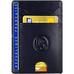 LuxyGo - Porte Carte De Credit et Pièce Identité - Protection Cartes Bleue sans Contact - Petit Etui Cuir Slim Protege Contre Le piratage Bancaire - Portefeuille Mince Anti RFID - Idée Cadeau Homme
