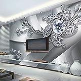 Abihua Wandbilder Metallschmuck Hintergrund Wandbild 3D Stereo Geprägte Tapete Wohnzimmer Hotelzimmer Landschaft 3D 500Cm X 320Cm