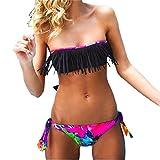 Rawdah Donne Bikini solido nappa costume da bagno del Beachwear dello Swimwear del vestito di bagno (S, Nero)