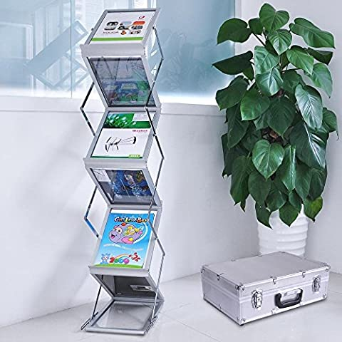 ReaseJoy A4 Portable Brochure Floor Display Stand 5 Pocket Literature