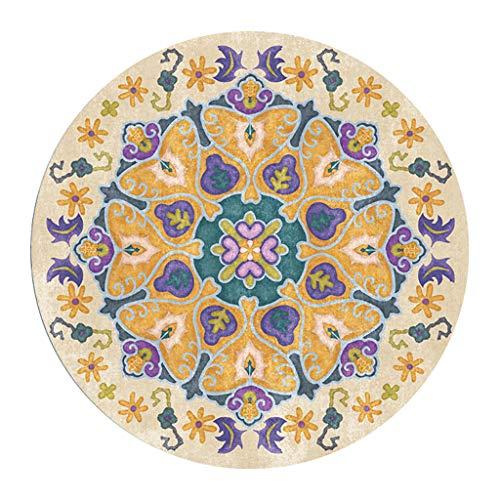 WenFei shop Runder Teppich, Retro Floral Shag Teppich waschbar rutschfeste Fußmatte mit Wohnkultur Wohnzimmer Schlafzimmer Küche Kinderzimmer Schlafsaal Teppichmatten Yogamatte Bodenmatte (Shag Floral Teppiche)