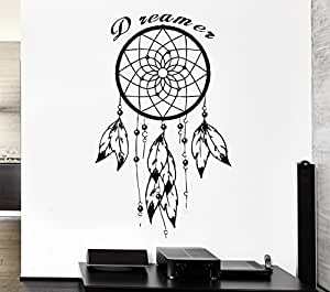 haut sticker mural attrape r ves dreamcatcher feathe citation r ve z2781 cuisine. Black Bedroom Furniture Sets. Home Design Ideas