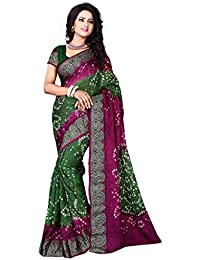 Bandhani Saree (Kanchnar Women's Art Silk Pink,Green Bandhani Print Party Wear Saree)