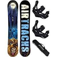 AIRTRACKS SNOWBOARD SET /PACK/ PLANCHE MIDNIGHT CARBON WIDE ROCKER+FIXATIONS SAVAGE+SB SAC/NEUF