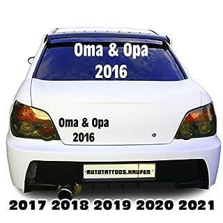 Grandma and Grandpa 2016/2017... etc.. Car Sticker for Rear Window Sticker Decal, Vinyl, copper, 2018 - Size1 = 29,5 cm breit