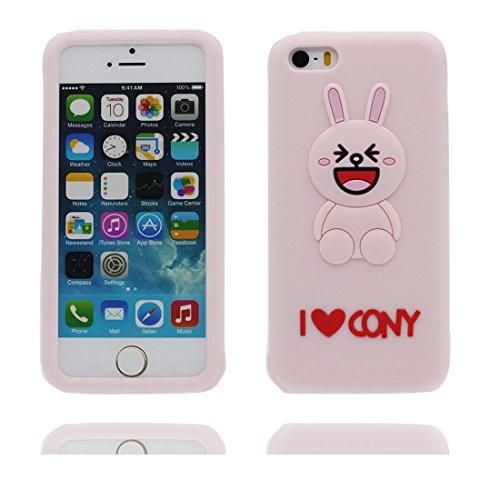 iPhone 5 Coque, Étui Cover Housse pour iPhone 5S 5C 5G, Durable TPU Rubber Skin Soft Shell iPhone SE Case, Résistant à la poussière Scratch (3D Cartoon lapin oreille ) Pink Pink 1