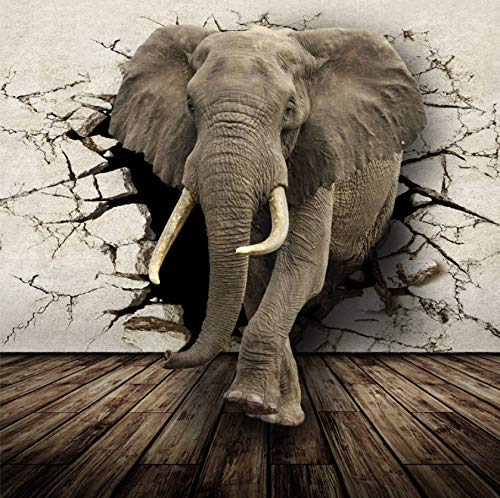 Mural No Tejido Realista Animal Mural Elefantes Papel Tapiz Fotográfico Decoración Para...