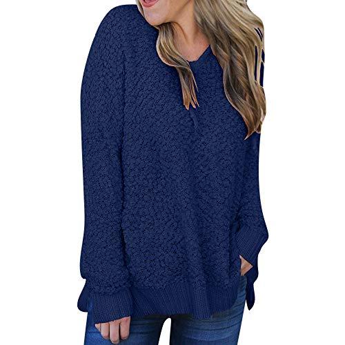 HUIHUI Damen Bekleidung Damen Pullover Oversize v Ausschnitt 90s Kapuzenpullover Zipped Jacket Brazzo Mack (Blau,S)