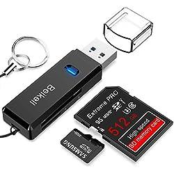 Beikell Lecteur de Carte USB 3.0, Lecteur de Carte Mémoire SD/Micro SD Haute Vitesse Card Reader MMC Memory Stick SDXC SDHC MSXC pour PC Windows et Mac OS - avec Porte-clés -Noir