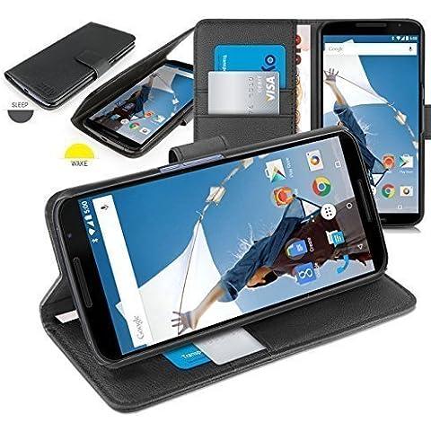 Orzly® - Motorola NEXUS 6 Funda con Auto Standby ( Sensores Automáticos del Sueño / Vigilia ) Estilo de Cuero NEGRO - Caja con Soporte integrado (Alias: Orzly® - Multi-Function Wallet Stand Case para GOOGLE NEXUS 6 SmartPhone / Teléfono Móvil - 2014 modelo ) ESTUCHE INCLUYE: Tapa Magnética + Cartera & Billetera integrado