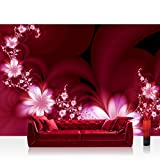 Vlies Fototapete 400x280 cm PREMIUM PLUS Wand Foto Tapete Wand Bild Vliestapete - RED FLOWER ORNAMENTS - Ornamente Blumen Orchidee Rot Blumenranke - no. 040
